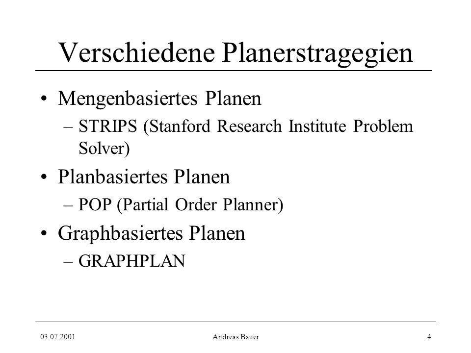 03.07.2001Andreas Bauer4 Verschiedene Planerstragegien Mengenbasiertes Planen –STRIPS (Stanford Research Institute Problem Solver) Planbasiertes Planen –POP (Partial Order Planner) Graphbasiertes Planen –GRAPHPLAN