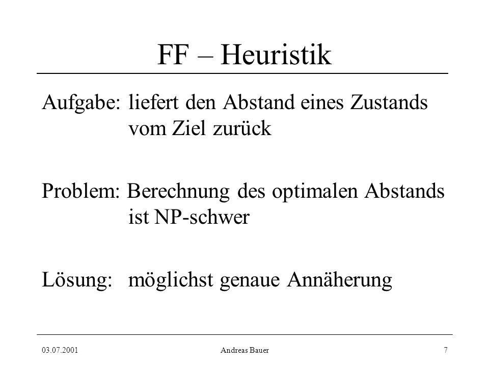 03.07.2001Andreas Bauer7 FF – Heuristik Aufgabe: liefert den Abstand eines Zustands vom Ziel zurück Problem: Berechnung des optimalen Abstands ist NP-schwer Lösung:möglichst genaue Annäherung