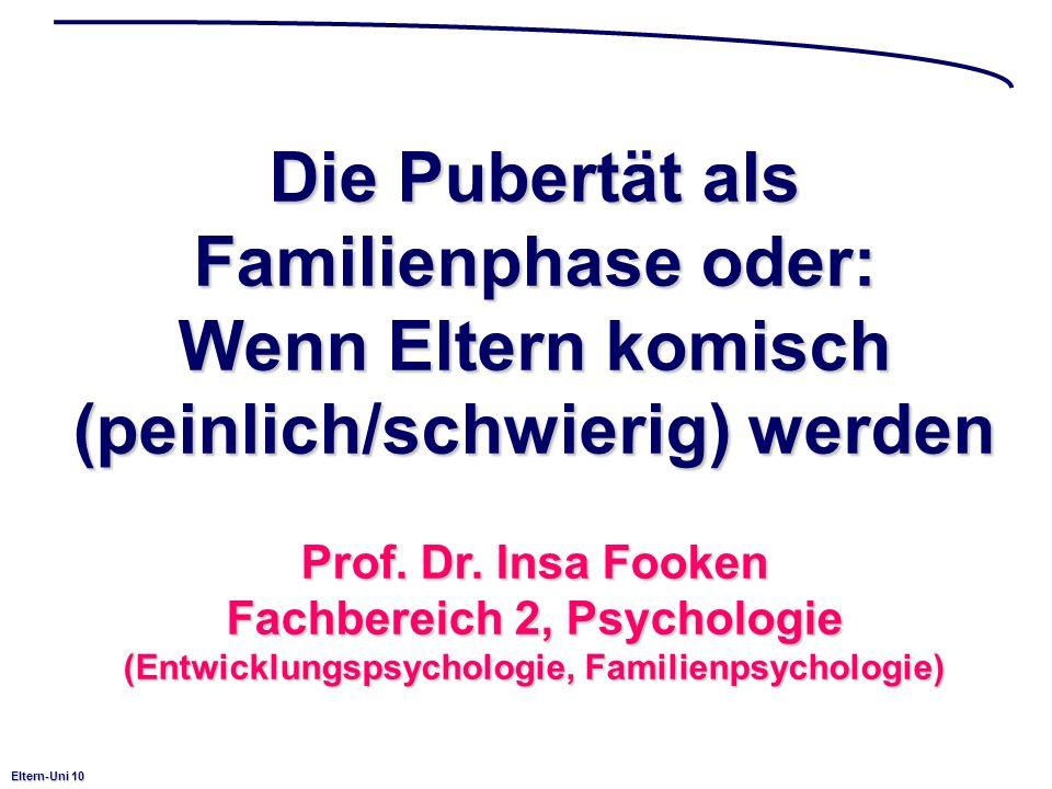 Eltern-Uni 10 Die Pubertät als Familienphase oder: Wenn Eltern komisch (peinlich/schwierig) werden Prof. Dr. Insa Fooken Fachbereich 2, Psychologie (E