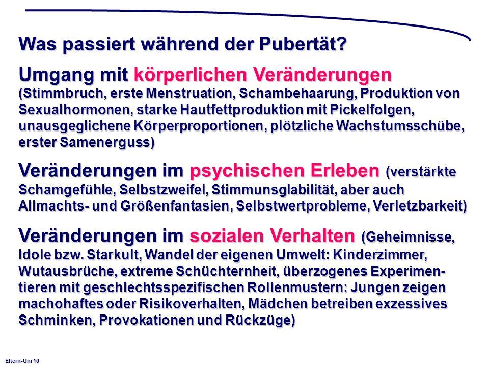 Eltern-Uni 10 Was passiert während der Pubertät? Umgang mit körperlichen Veränderungen (Stimmbruch, erste Menstruation, Schambehaarung, Produktion von