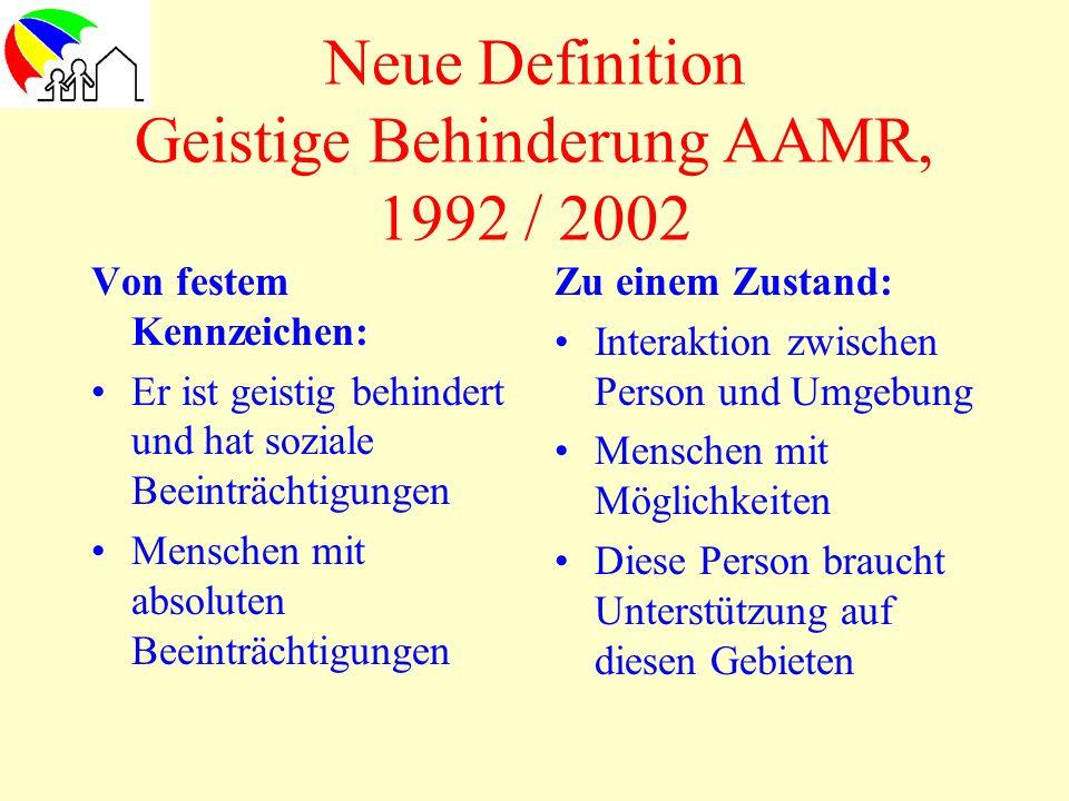 Neue Definition Geistige Behinderung AAMR, 1992 / 2002 Von festem Kennzeichen: Er ist geistig behindert und hat soziale Beeinträchtigungen Menschen mi