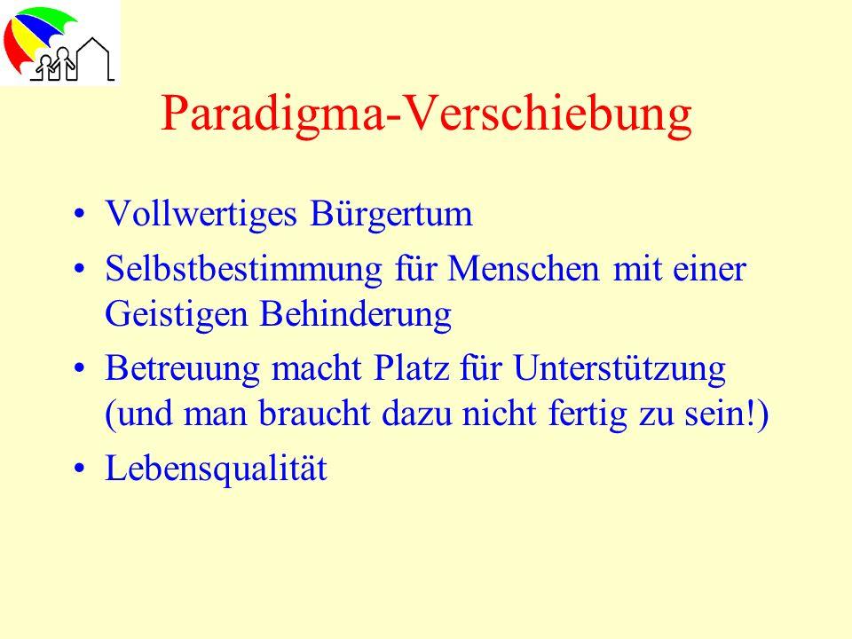 Paradigma-Verschiebung Vollwertiges Bürgertum Selbstbestimmung für Menschen mit einer Geistigen Behinderung Betreuung macht Platz für Unterstützung (u