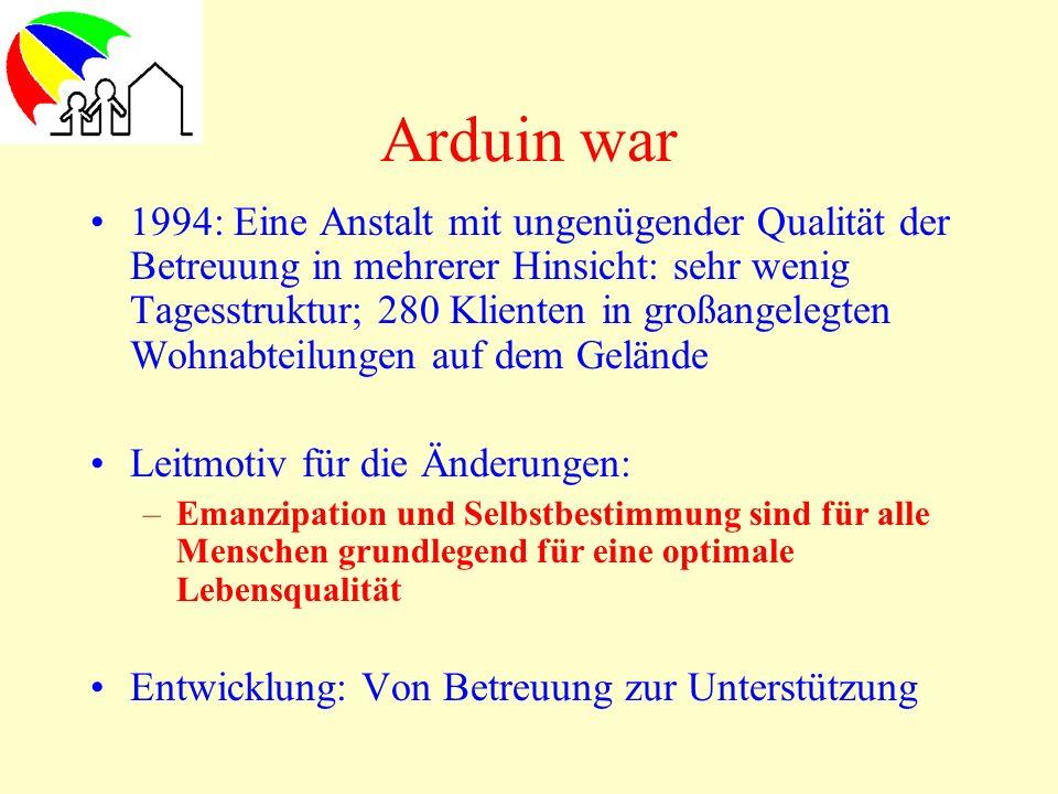 Arduin war 1994: Eine Anstalt mit ungenügender Qualität der Betreuung in mehrerer Hinsicht: sehr wenig Tagesstruktur; 280 Klienten in großangelegten W