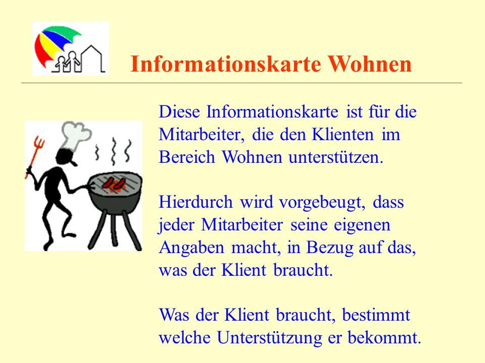 Informationskarte Wohnen Diese Informationskarte ist für die Mitarbeiter, die den Klienten im Bereich Wohnen unterstützen. Hierdurch wird vorgebeugt,