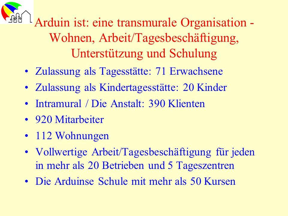 Arduin ist: eine transmurale Organisation - Wohnen, Arbeit/Tagesbeschäftigung, Unterstützung und Schulung Zulassung als Tagesstätte: 71 Erwachsene Zul