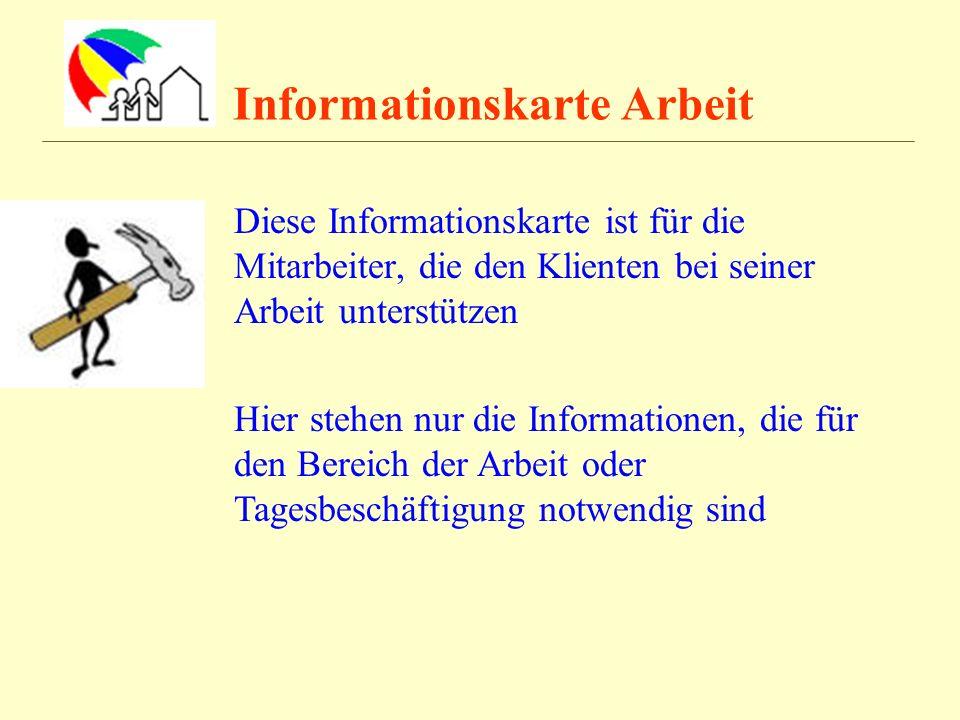 Informationskarte Arbeit Diese Informationskarte ist für die Mitarbeiter, die den Klienten bei seiner Arbeit unterstützen Hier stehen nur die Informat