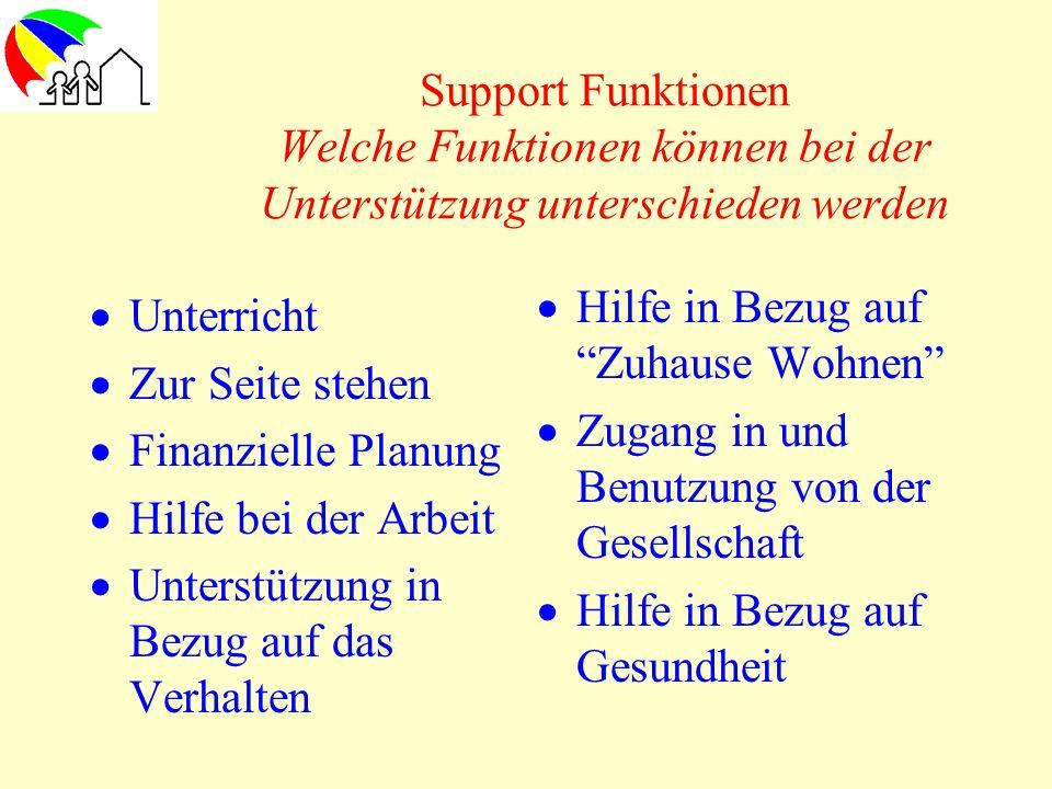 Support Funktionen Welche Funktionen können bei der Unterstützung unterschieden werden Unterricht Zur Seite stehen Finanzielle Planung Hilfe bei der A