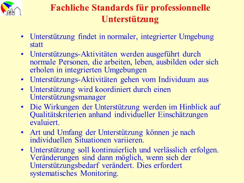 Fachliche Standards für professionnelle Unterstützung Unterstützung findet in normaler, integrierter Umgebung statt Unterstützungs-Aktivitäten werden