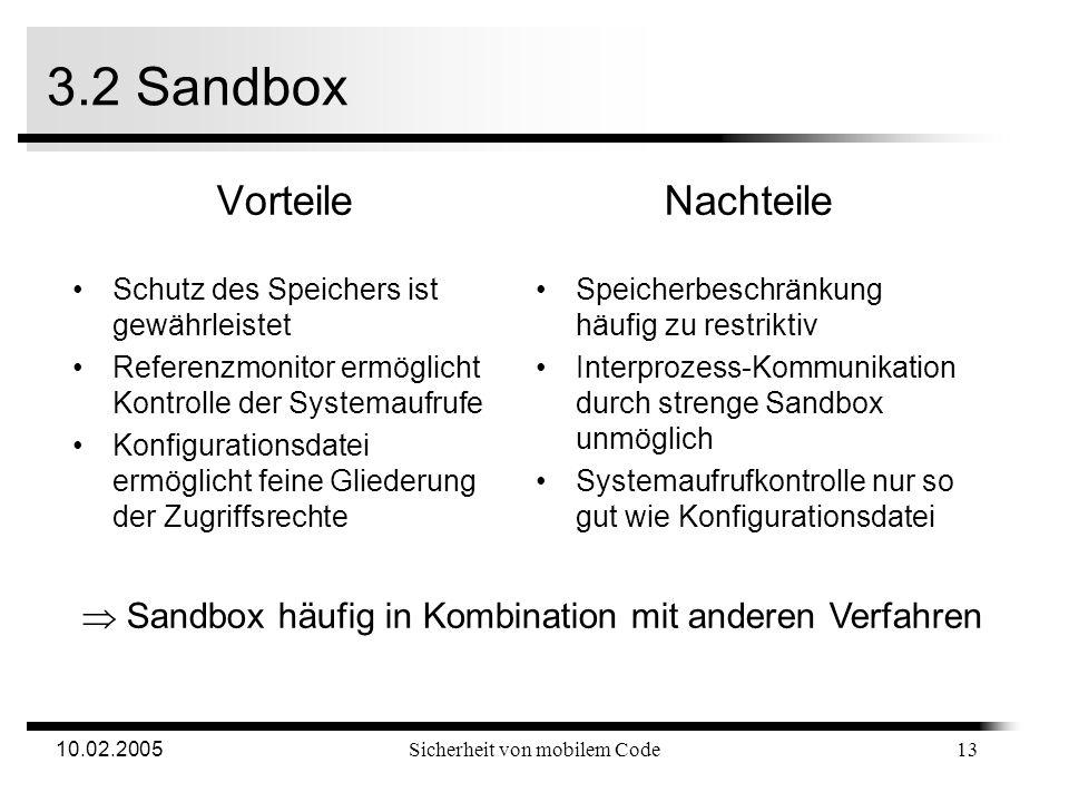 10.02.2005Sicherheit von mobilem Code 3.2 Sandbox 12 2.Überprüfung, ob Sandbox-Grenzen eingehalten werden statischen Sprungbefehlen dynamische Sprungbefehle: Codeänderung 3.Überprüfung auf direkte Systemaufrufe Ersetzen des Aufrufs durch Sprung zu Referenzmonitor Ablauf bei Sandbox-Umsetzung 1.Jedes Programm erhält 2 Sandboxen Eine für Programmcode, die andere für Daten