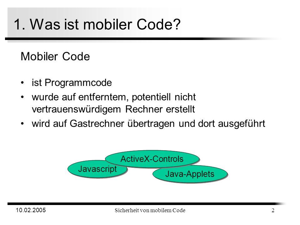 10.02.2005Sicherheit von mobilem Code Gliederung 1.Was ist mobiler Code? 2.Bedrohungen 3.Sicherheitsmodelle Proof-Carrying Code Sandbox 4.Umsetzung in
