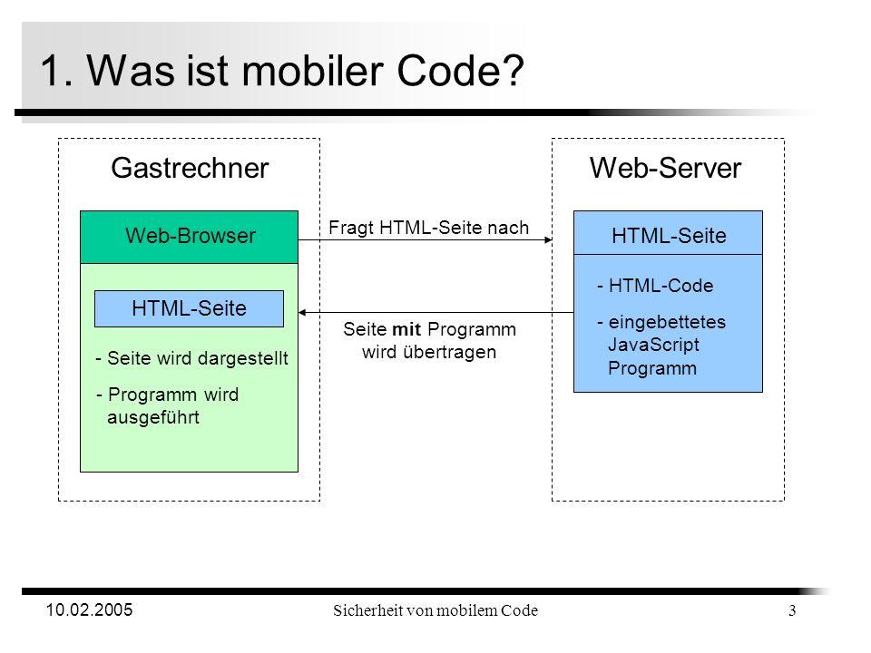 10.02.2005Sicherheit von mobilem Code 1. Was ist mobiler Code? Mobiler Code ist Programmcode wurde auf entferntem, potentiell nicht vertrauenswürdigem