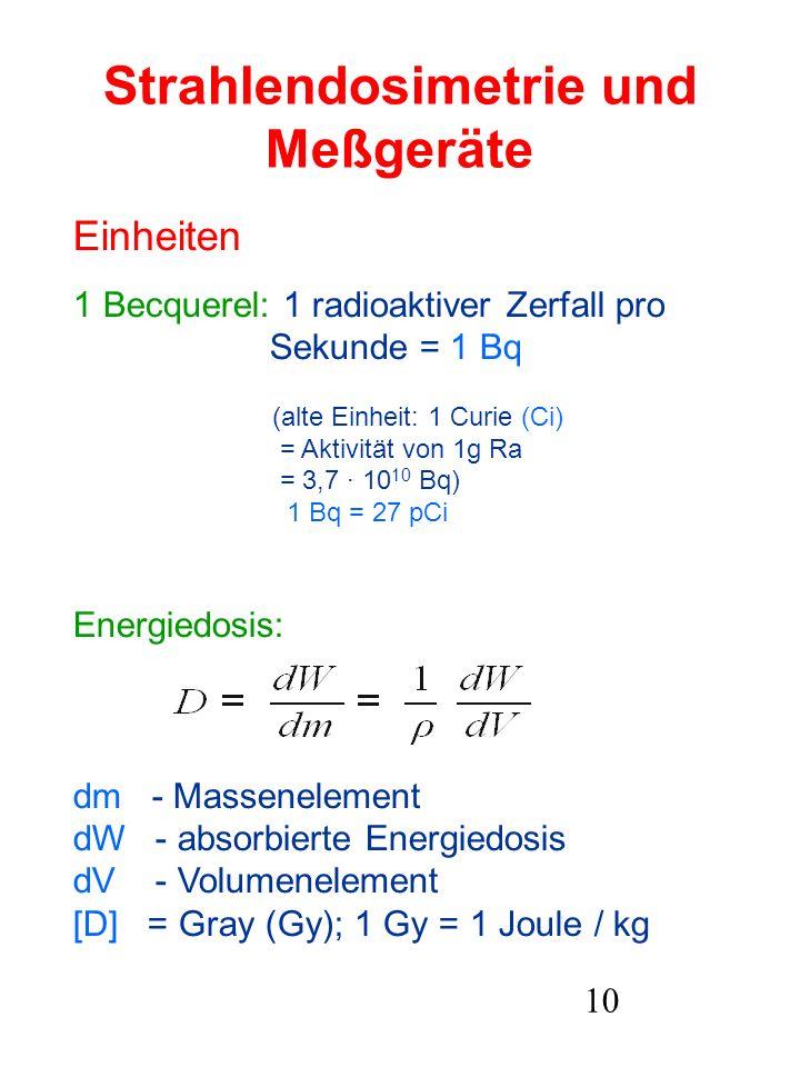 10 Strahlendosimetrie und Meßgeräte Einheiten 1 Becquerel: 1 radioaktiver Zerfall pro Sekunde = 1 Bq (alte Einheit: 1 Curie (Ci) = Aktivität von 1g Ra
