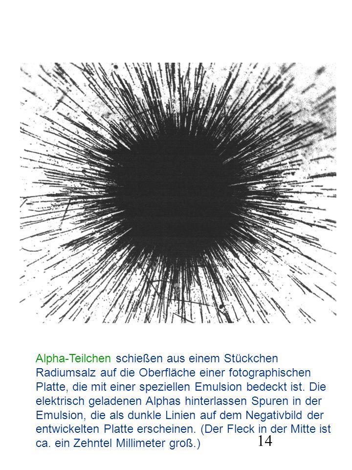 14 Alpha-Teilchen schießen aus einem Stückchen Radiumsalz auf die Oberfläche einer fotographischen Platte, die mit einer speziellen Emulsion bedeckt i