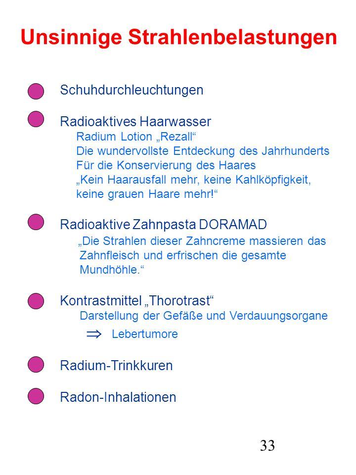 33 Unsinnige Strahlenbelastungen Schuhdurchleuchtungen Radioaktives Haarwasser Radium Lotion Rezall Die wundervollste Entdeckung des Jahrhunderts Für