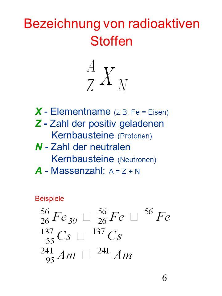6 Bezeichnung von radioaktiven Stoffen X - Elementname (z.B. Fe = Eisen) Z - Zahl der positiv geladenen Kernbausteine (Protonen) N - Zahl der neutrale