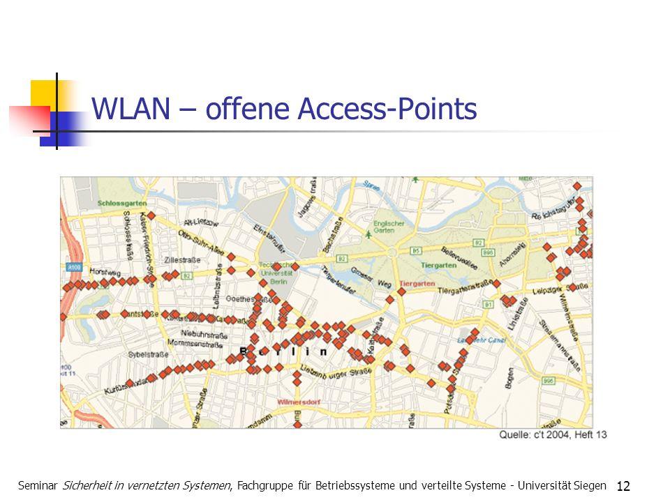 12 WLAN – offene Access-Points Seminar Sicherheit in vernetzten Systemen, Fachgruppe für Betriebssysteme und verteilte Systeme - Universität Siegen
