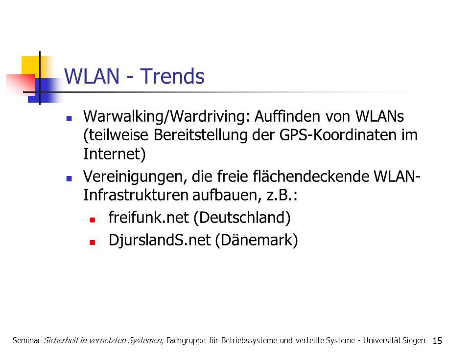 15 WLAN - Trends Warwalking/Wardriving: Auffinden von WLANs (teilweise Bereitstellung der GPS-Koordinaten im Internet) Vereinigungen, die freie fläche