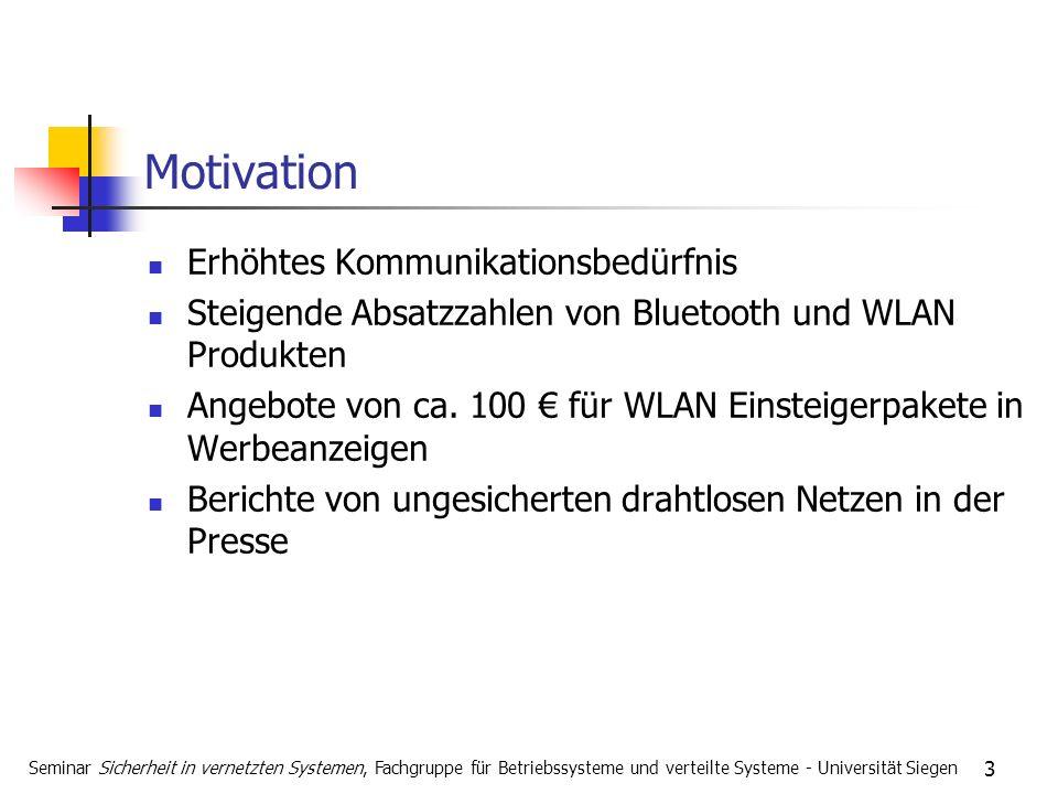 3 Motivation Erhöhtes Kommunikationsbedürfnis Steigende Absatzzahlen von Bluetooth und WLAN Produkten Angebote von ca. 100 für WLAN Einsteigerpakete i
