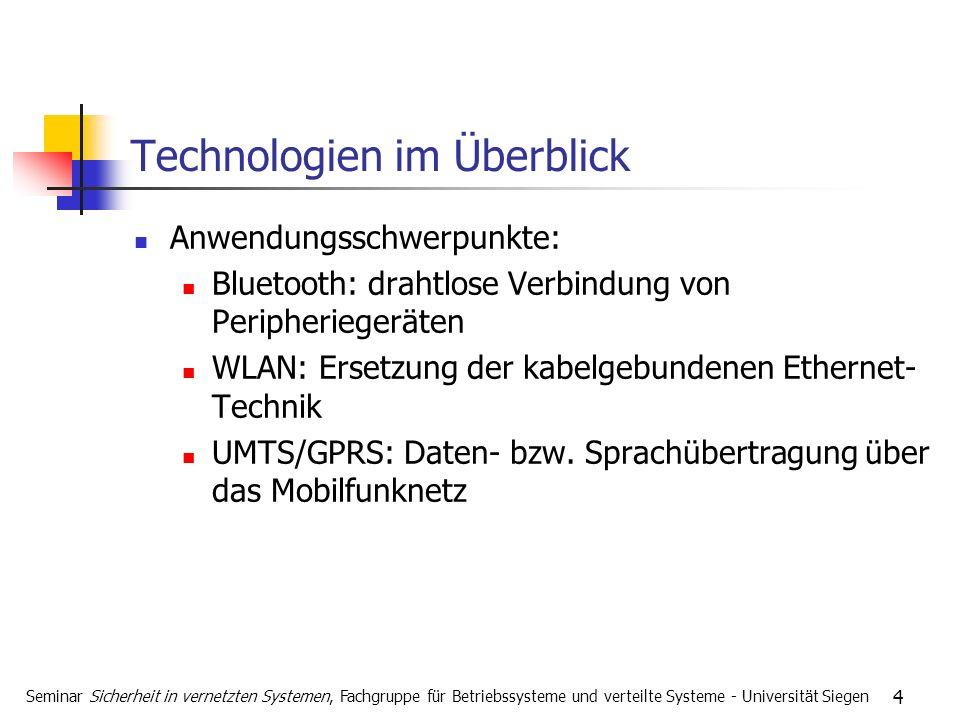 4 Technologien im Überblick Anwendungsschwerpunkte: Bluetooth: drahtlose Verbindung von Peripheriegeräten WLAN: Ersetzung der kabelgebundenen Ethernet- Technik UMTS/GPRS: Daten- bzw.