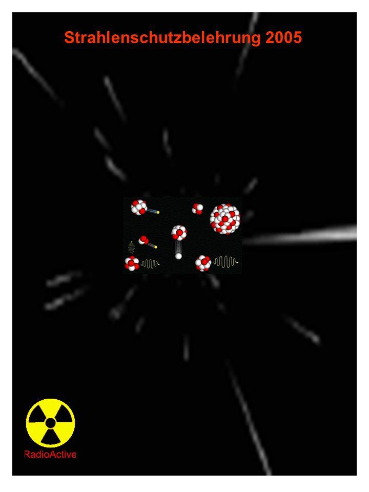 Strahlenschutzbelehrung nach §38 Strahlungs – Wichtungsfaktor w R Photonen, Elektronen, Myonen 1 Neutronen < 10 keV 10 keV bis 100 keV > 100keV bis 2 MeV > 2 MeV bis 20 MeV > 20 MeV 5 10 20 10 5 Protonen außer Rückstoßprotonen Energie > 2 MeV 5 Alphateilchen, Spaltfragmente, schwere Kerne 20