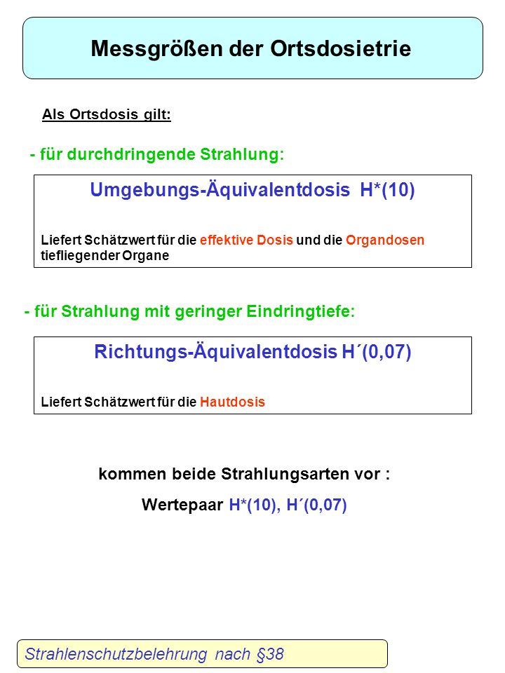 Strahlenschutzbelehrung nach §38 Orts- und Personendosis Personendosis : Äquivalentdosis gemessen an der für die Strahlenexposition repräsentativen St