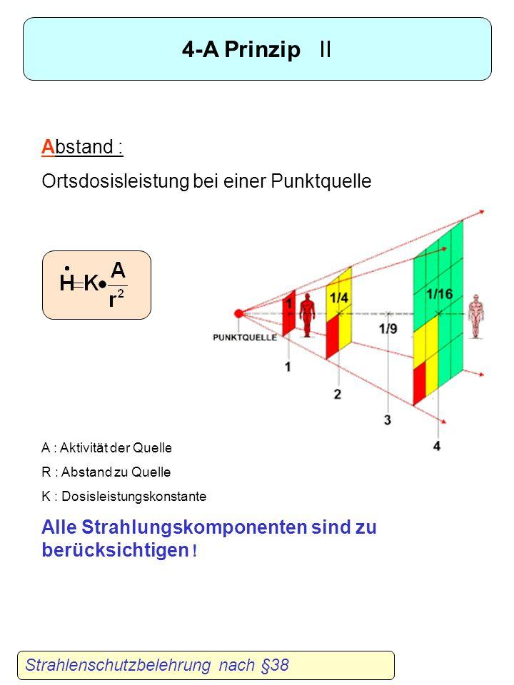 4-A Prinzip I Strahlenschutzbelehrung nach §38 A ktivität : Experiment sorgfältig planen und Quelle mit der kleinst möglichen Aktivität verwenden. A u