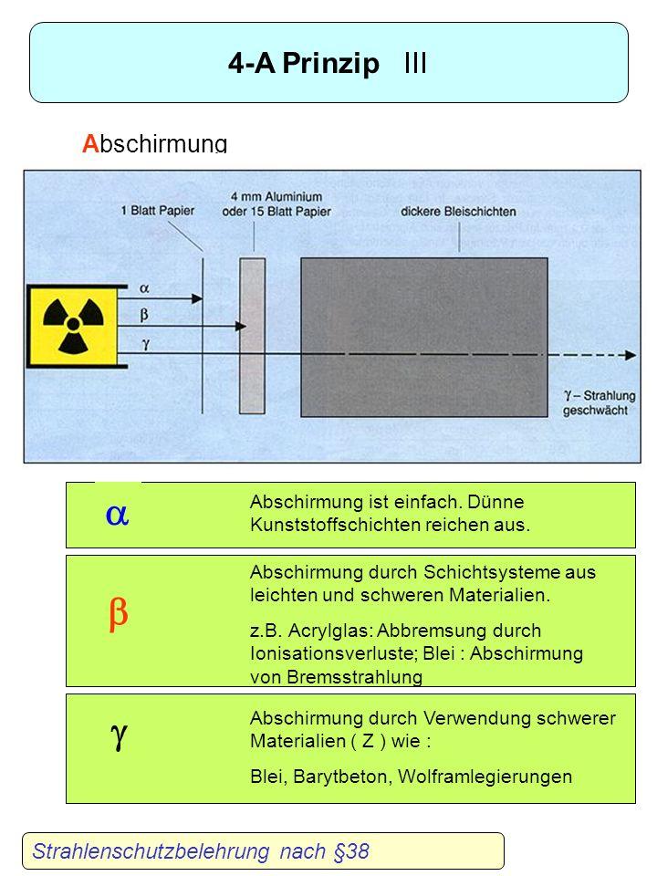 4-A Prinzip II Strahlenschutzbelehrung nach §38 Abstand : Ortsdosisleistung bei einer Punktquelle A : Aktivität der Quelle R : Abstand zu Quelle K : D