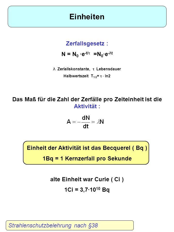 Strahlenschutzbelehrung nach §38 Einheiten Zerfallsgesetz : N = N 0 ·e -t/ =N 0 ·e -λt λ Zerlallskonstante, Lebensdauer Halbwertszeit T 1/2 = · ln2 Das Maß für die Zahl der Zerfälle pro Zeiteinheit ist die Aktivität : Einheit der Aktivität ist das Becquerel ( Bq ) 1Bq = 1 Kernzerfall pro Sekunde alte Einheit war Curie ( Ci ) 1Ci = 3,7·10 10 Bq