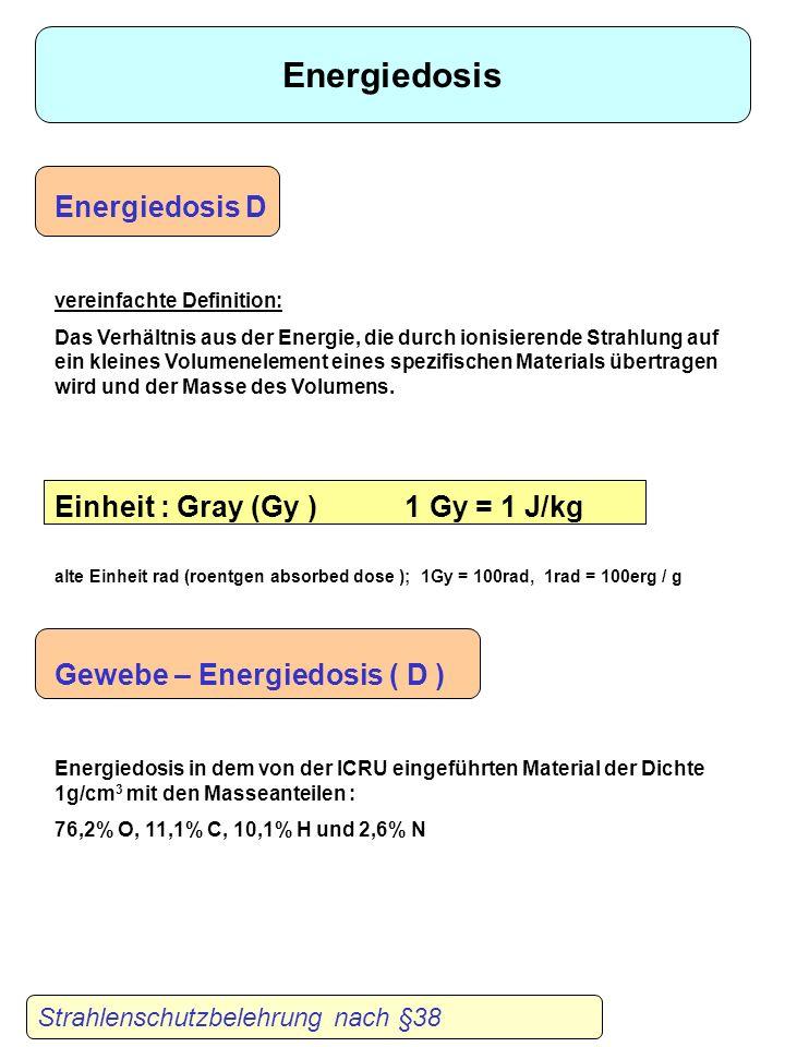 Energiedosis D vereinfachte Definition: Das Verhältnis aus der Energie, die durch ionisierende Strahlung auf ein kleines Volumenelement eines spezifischen Materials übertragen wird und der Masse des Volumens.