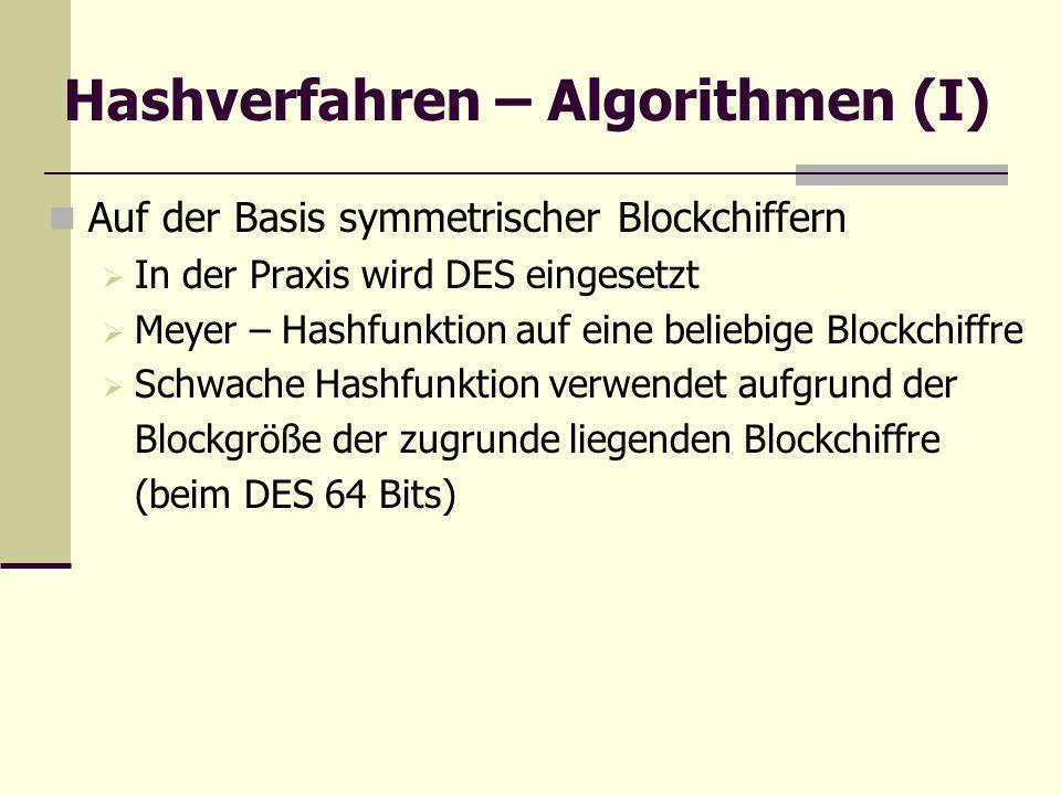 Hashverfahren – Algorithmen (I) Auf der Basis symmetrischer Blockchiffern In der Praxis wird DES eingesetzt Meyer – Hashfunktion auf eine beliebige Bl