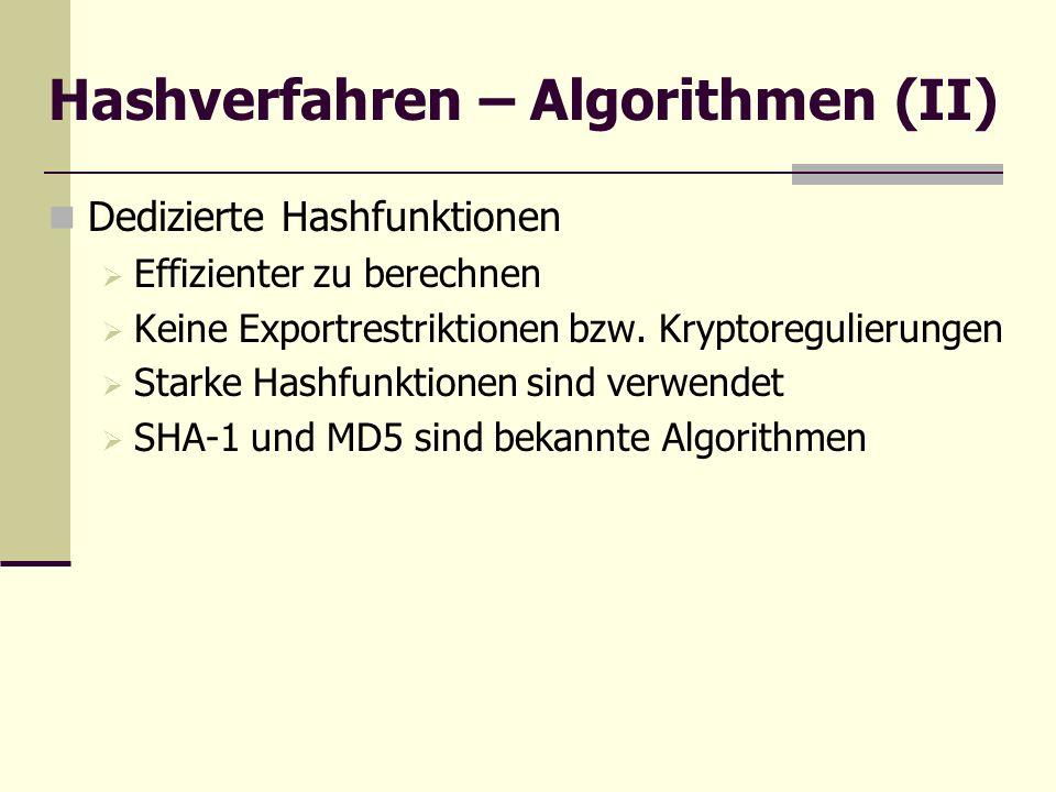 Hashverfahren – Algorithmen (II) Dedizierte Hashfunktionen Effizienter zu berechnen Keine Exportrestriktionen bzw. Kryptoregulierungen Starke Hashfunk
