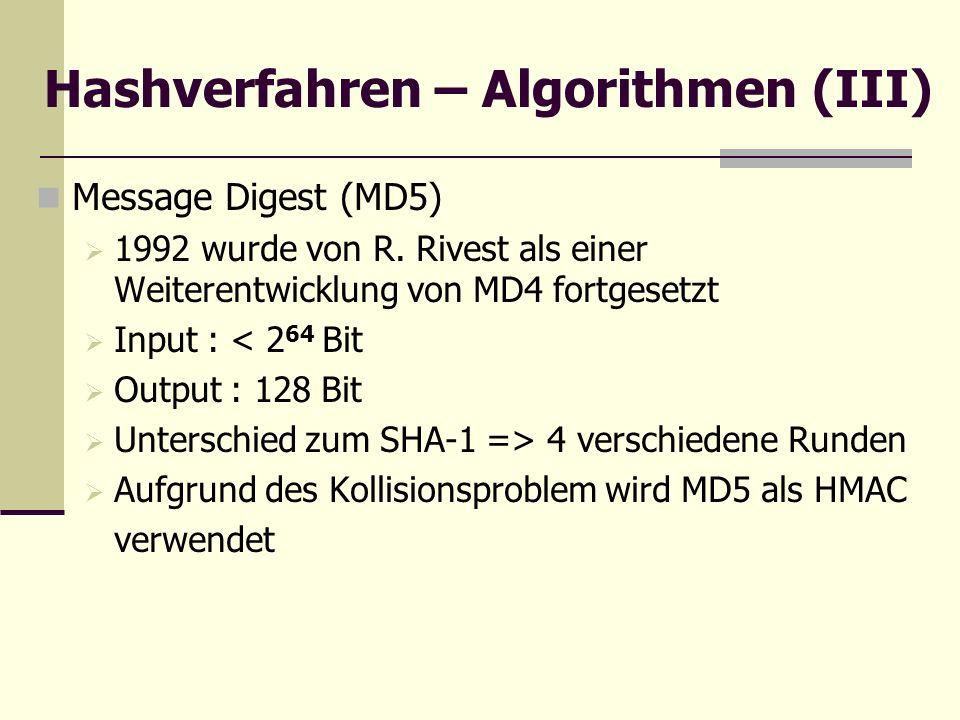 Hashverfahren – Algorithmen (III) Message Digest (MD5) 1992 wurde von R. Rivest als einer Weiterentwicklung von MD4 fortgesetzt Input : < 2 64 Bit Out