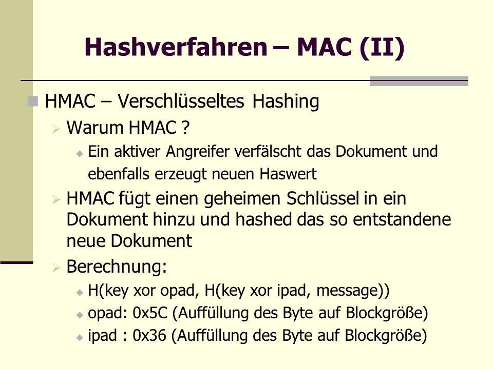 Hashverfahren – MAC (II) HMAC – Verschlüsseltes Hashing Warum HMAC ? Ein aktiver Angreifer verfälscht das Dokument und ebenfalls erzeugt neuen Haswert