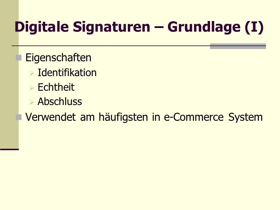 Digitale Signaturen – Grundlage (I) Eigenschaften Identifikation Echtheit Abschluss Verwendet am häufigsten in e-Commerce System