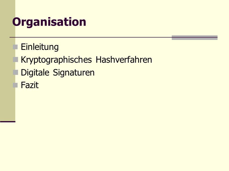 Organisation Einleitung Kryptographisches Hashverfahren Digitale Signaturen Fazit