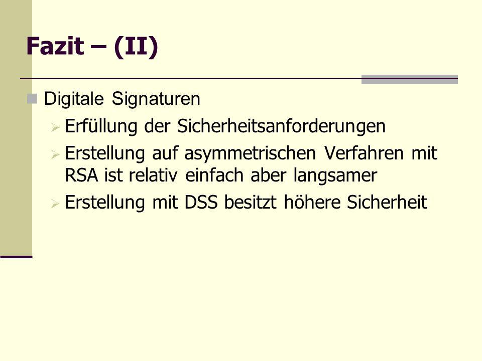 Fazit – (II) Digitale Signaturen Erfüllung der Sicherheitsanforderungen Erstellung auf asymmetrischen Verfahren mit RSA ist relativ einfach aber langs