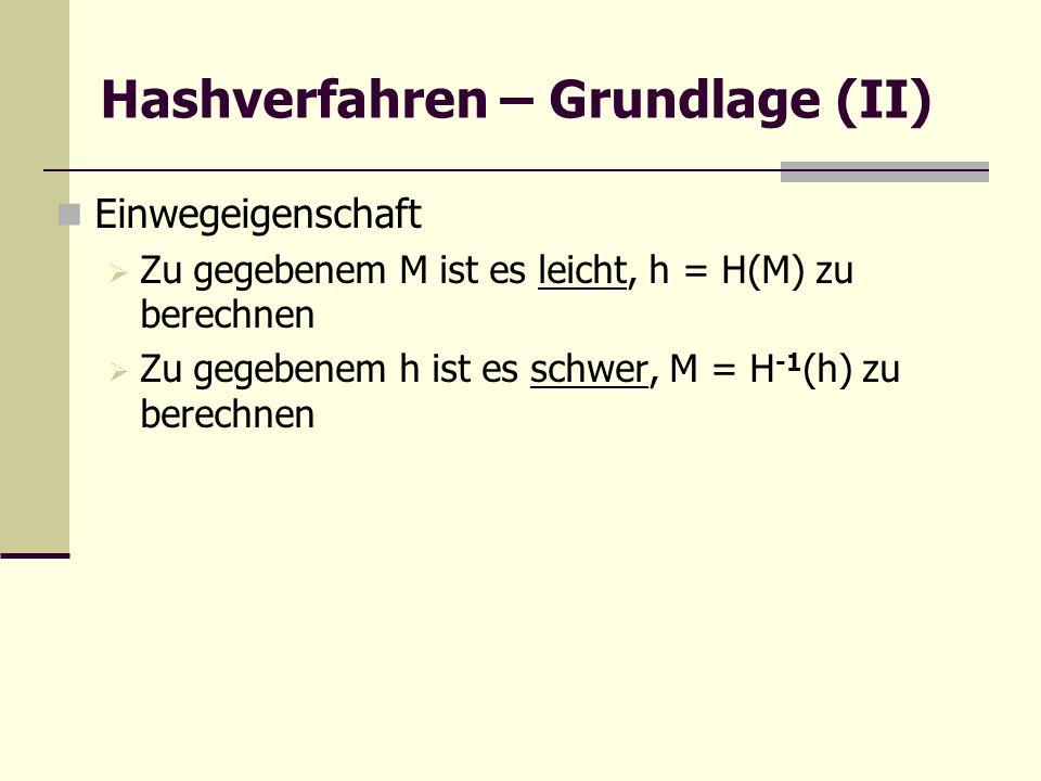 Hashverfahren – Grundlage (II) Einwegeigenschaft Zu gegebenem M ist es leicht, h = H(M) zu berechnen Zu gegebenem h ist es schwer, M = H -1 (h) zu ber