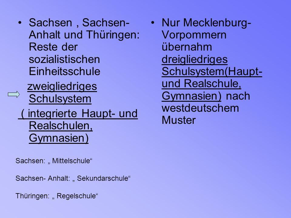 Sachsen, Sachsen- Anhalt und Thüringen: Reste der sozialistischen Einheitsschule zweigliedriges Schulsystem ( integrierte Haupt- und Realschulen, Gymn