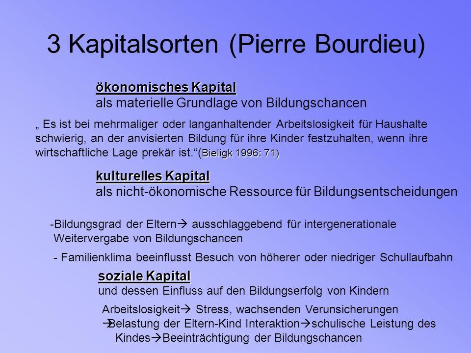 3 Kapitalsorten (Pierre Bourdieu) ökonomisches Kapital als materielle Grundlage von Bildungschancen Es ist bei mehrmaliger oder langanhaltender Arbeit