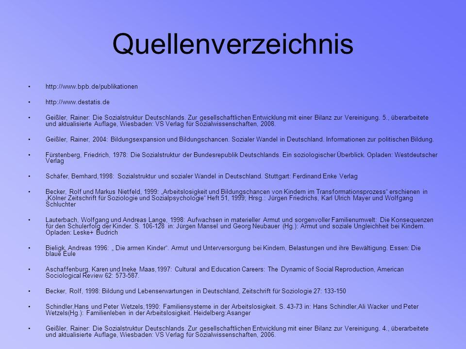 Quellenverzeichnis http://www.bpb.de/publikationen http://www.destatis.de Geißler, Rainer: Die Sozialstruktur Deutschlands. Zur gesellschaftlichen Ent