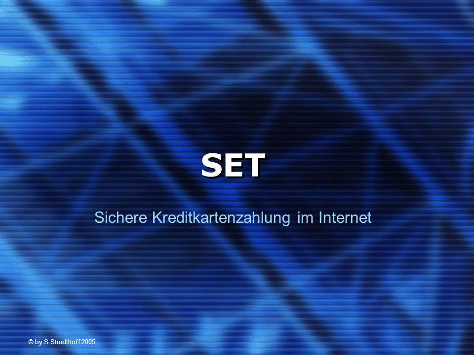 © by S.Strudthoff 2005 22 AcInfo K DES RSA PG BA DES BI SHA - 1 Duale Signatur Zert K Bezahlnachfrage: (Händlerteil) TID signiert und mit neuem DES-Schlüssel verschlüsselt DES – Schlüssel mit RSA verschlüsselt Zertifikat des Händlers TID RSA H DES H RSA PG K DES Zert H Händler