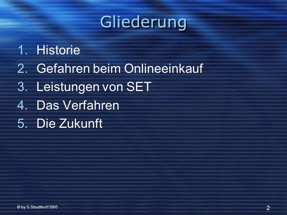 © by S.Strudthoff 2005 2 Gliederung 1.Historie 2.Gefahren beim Onlineeinkauf 3.Leistungen von SET 4.Das Verfahren 5.Die Zukunft