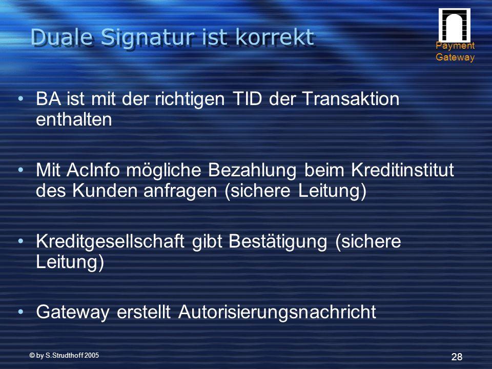 © by S.Strudthoff 2005 28 Duale Signatur ist korrekt BA ist mit der richtigen TID der Transaktion enthalten Mit AcInfo mögliche Bezahlung beim Kreditinstitut des Kunden anfragen (sichere Leitung) Kreditgesellschaft gibt Bestätigung (sichere Leitung) Gateway erstellt Autorisierungsnachricht Payment Gateway