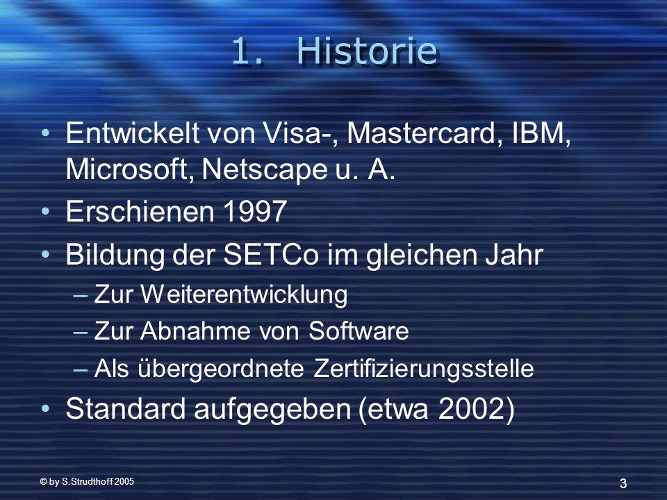 © by S.Strudthoff 2005 3 1.Historie Entwickelt von Visa-, Mastercard, IBM, Microsoft, Netscape u. A. Erschienen 1997 Bildung der SETCo im gleichen Jah