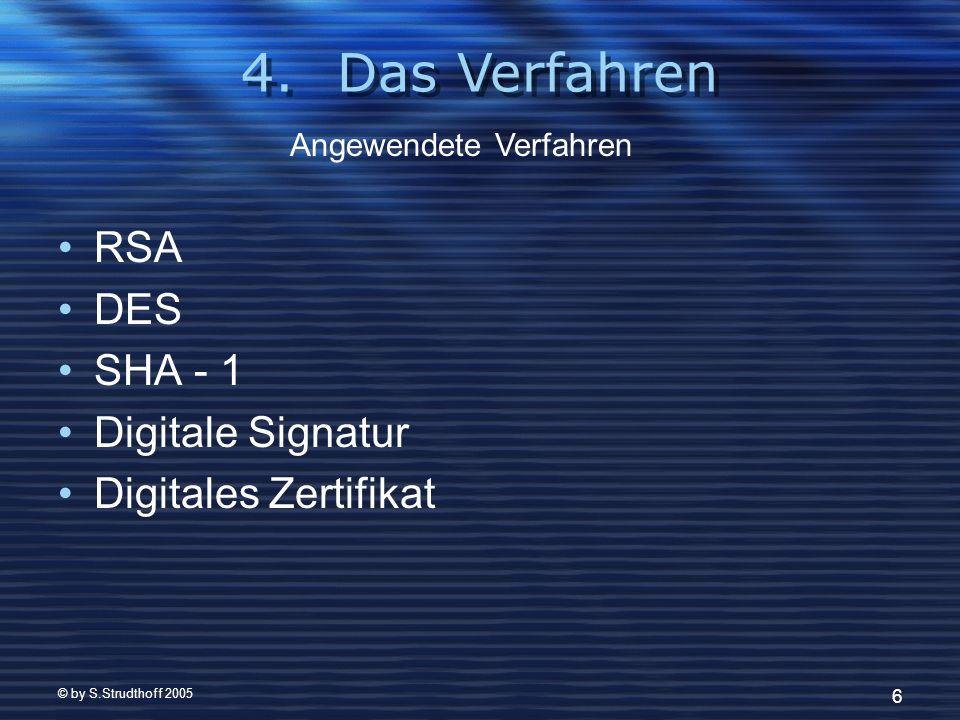 © by S.Strudthoff 2005 17 Kunde antwortet an Händler: Duale Signatur BI Hash (BA) Hash (BI) BA verschlüsselt mit DES DES–Schlüssel und AccountInfo RSA verschlüsselt (mit öffentlichem Schlüssel des Payment Gateways) Duale Signatur BA SHA - 1 BI SHA - 1 BA DES AcInfo K DES RSA PG Kunde Händler BI Kunde