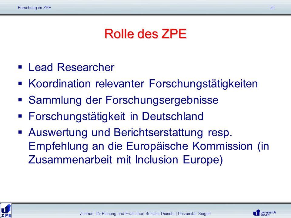 Rolle des ZPE Lead Researcher Koordination relevanter Forschungstätigkeiten Sammlung der Forschungsergebnisse Forschungstätigkeit in Deutschland Auswertung und Berichtserstattung resp.