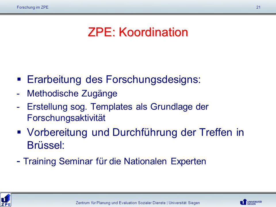 ZPE: Koordination Erarbeitung des Forschungsdesigns: -Methodische Zugänge -Erstellung sog. Templates als Grundlage der Forschungsaktivität Vorbereitun