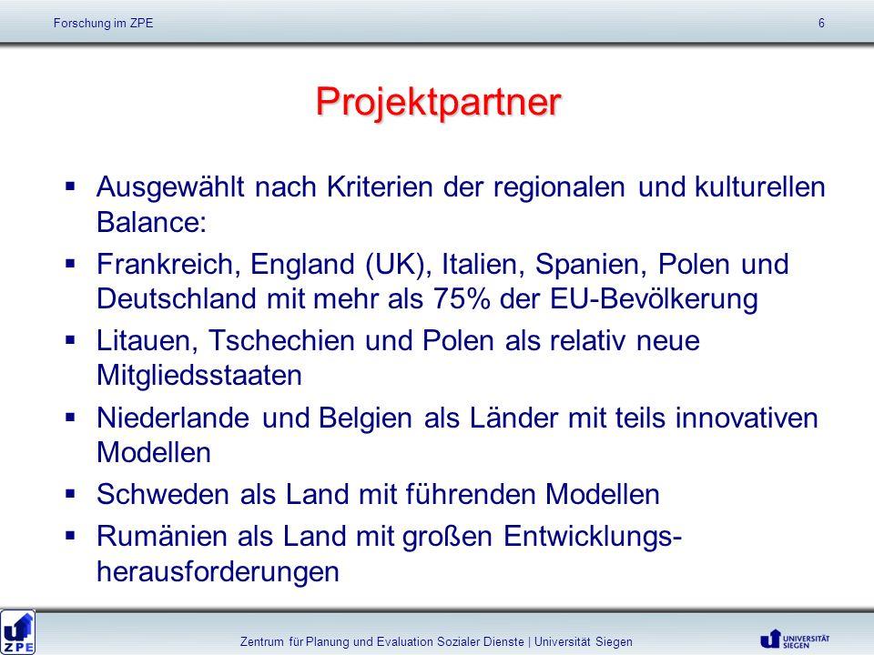 Projektpartner Ausgewählt nach Kriterien der regionalen und kulturellen Balance: Frankreich, England (UK), Italien, Spanien, Polen und Deutschland mit