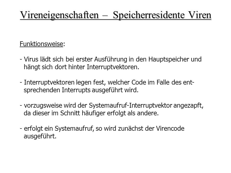 Vireneigenschaften – Speicherresidente Viren Funktionsweise: - Virus lädt sich bei erster Ausführung in den Hauptspeicher und hängt sich dort hinter I