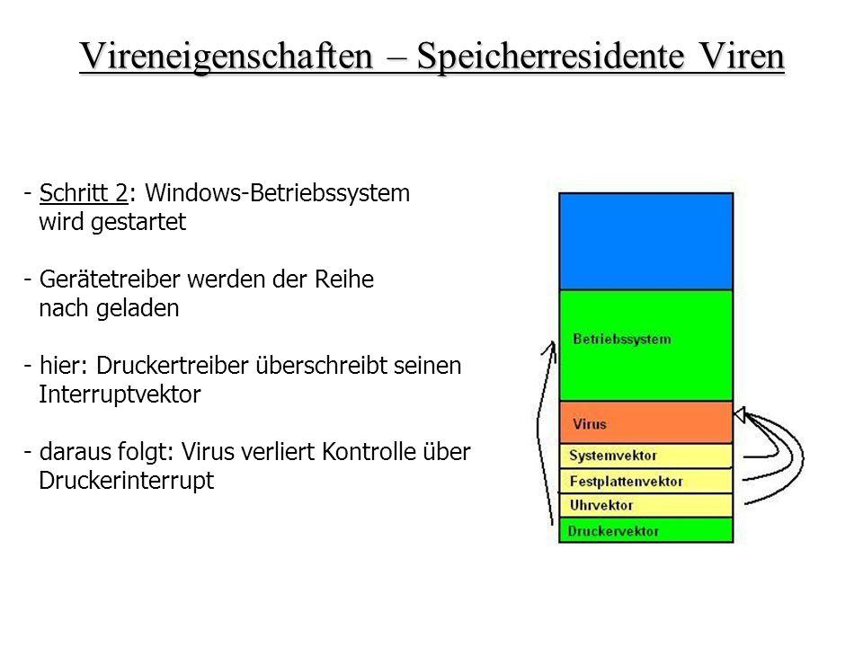 Vireneigenschaften – Speicherresidente Viren - Schritt 2: Windows-Betriebssystem wird gestartet - Gerätetreiber werden der Reihe nach geladen - hier: